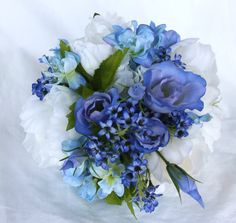 Peony Bridal Bouquet with Ivory & Blue by UnrealWeddingFlowers