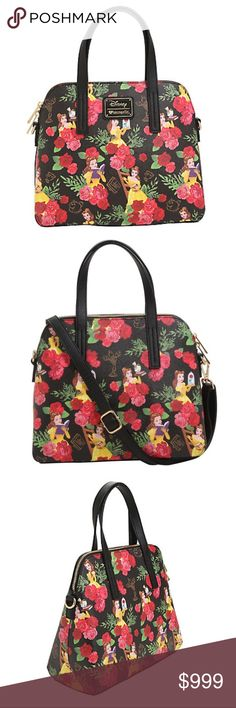 "New~ Disney Loungefly Beauty & Beast Bag Disney x Loungefly Beauty & The Beast Limited Edition LE Floral Belle Satchel  Condition: Brand New Product Details:  Faux leather handbag Shoulder Bag Purse Disney's Beauty and the Beast allover Belle themed floral print design detachable shoulder strap, interior zip & pouch pockets and a zip closure.  Polyurethane Approx. 10"" x 6"" x 8""5"" drop handles 51"" detachable shoulder strap Limited Edition Imported Disney Bags Satchels"
