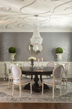 **ceiling and walls*** grey & ivory dining room, dark pedestal table, white Louis chairs with nailhead trim, oriental rug Decor, Elegant Dining Room, Dining Room Design, Elegant Dining, Dining Room Inspiration, Dining Room Wallpaper, Home Decor, House Interior, Room Decor
