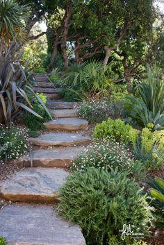 escalier en pierre, garden step, mediterranean garden www.aufildesjardins.fr