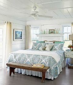 "Bedroom with plank walls. From ""How to Achieve a Coastal Style."""