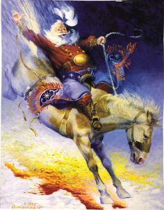 Santa on A Horse Print
