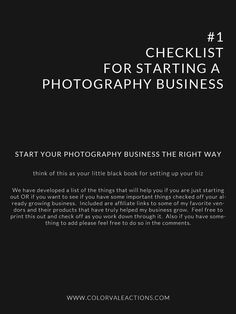 Photography Tips: Use this checklist to start your business OR make sure you have everything covered in the one you already own. #photographybusinesstips #PhotographyBusinessStuff