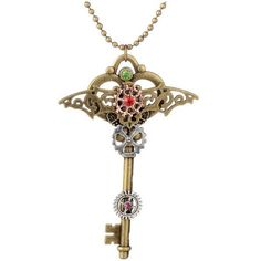Rhinestone Bat Circle Gear Key Necklace ($3.23) ❤ liked on Polyvore featuring jewelry, necklaces, circle jewelry, circle necklace, rhinestone necklace, key necklace and rhinestone jewelry