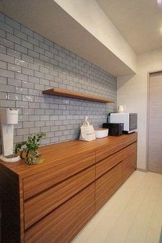 ブルーグレーのタイルがアクセント〜オリジナルキッチン収納 | リフォーム&オーガナイズなごみ工房〜手描きパースで伝える私らしい暮らし