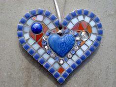 Hanging Mosaic Heart Decoration Blue,White,Orange. £18.00, via Etsy.