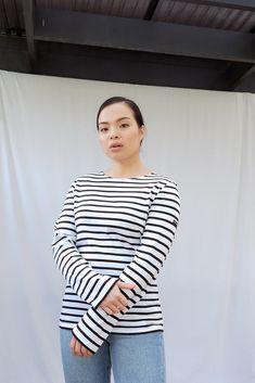 Minquiers Modern Breton Striped Top Breton Top, Black Tops, Black And White, Saint James, Size Model, Stripes, Blouse, Modern, How To Wear