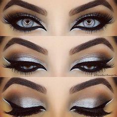 Stunning silver - silver eye make up Gorgeous Makeup, Pretty Makeup, Love Makeup, Makeup Inspo, Makeup Inspiration, Smokey Eye Makeup, Skin Makeup, Eyeshadow Makeup, Eyeshadows