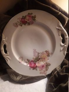 shabby chic serving plate made in Czechslovacia, 2 ornate handles with gold etching, 10 inch plate, decorated with rose motif by NanaPapShop on Etsy