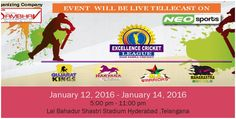 EXCELLENCE CRICKET LEAGUE IN HYDERABAD #CricketLeague is going to be held in #LalBahadurShastriStadium #Hyderabad & Live Telecast on #NEOSPORTS TV Channel.