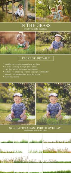 Grass photo overlays. Shooting through the grass effect – blurred foreground. Great for outdoor pictures, kids & portraits, mini sessions etc.