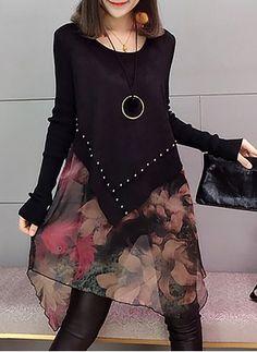 Cotton Geometric Ruffles Long Sleeve Shift Dress - Love and Joy White Lace Long Sleeve Shift Dress 2020 Fashion Sewing, Diy Fashion, Ideias Fashion, Womens Fashion, Stylish Dresses, Women's Fashion Dresses, Casual Dresses, Diy Clothes, Clothes For Women