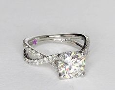 1.85 Carat Diamond Monique Lhuillier Twist Cathedral Diamond Engagement Ring | Recently Purchased | Blue Nile