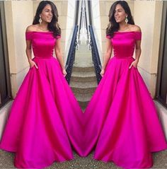 Off Shoulder Fuchsia Prom Dress,Satin Prom Dress,Formal Satin Evening Gowns,Elegant Evening Dress,Custom Prom Dress,Party Dress,Prom Dresses Cheap