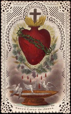Sacred Heart of Jesus - Immaculate Heart of Mary The Hearts of Jesus and Mary are attentive to the voice of your supplications. The Holy Hearts of Jesus and Mary have merciful designs for you. … I draw upon the infinite merits of the Sacred Heart of. Religious Images, Religious Icons, Religious Art, Catholic Prayers, Catholic Art, Roman Catholic, Image Jesus, Tag Art, Jesus E Maria
