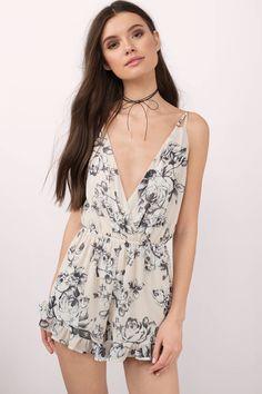 7537f26517bb Rose Above It Ivory Floral Print Romper White Boho Dress
