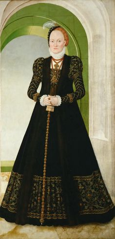 Anna von Dänemark (1532–1585) Electress of Saxony by Lucas Cranach the younger.  Married 1548 Augustus I of Saxony.   Same subject portrait by Hans Krell, 1551.   Both with rolled collars.   Krell's work with brandenburg, saxony,  may be associated with Virgil Solis print of rulers of the same.   Daughter of the queen of Denmark,  and niece of Gustav Vasa's first wife.   May be associated with Virgil Solis print of rulers of Poland, Denmark and Sweden.