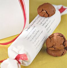 print the recipe on blank sheet of paper  and use it to wrap the cookies with fun ribbon on the ends.