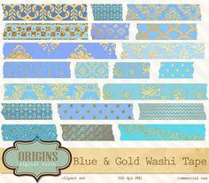 Digital Washi Tape Blue and Gold chic by OriginsDigitalCurio