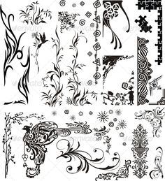 Various Ornaments #GraphicRiver Set of various ornaments for decor any documents etc.