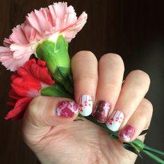 """ Updated my mani for Valentine's Day... 1 day late! LOL  ...Featuring carnations from my boys, #SerendipityJN, #MeltMyHeartJN, & #JoyfulCelebrationJN…"""