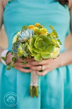 Succulent Bouquet Recipe: Succulents: 3 Aeonium Canariense 3 Echeveria Imbricate 3 Echeveria Peacockii Flowers: 3 Yellow Dahlias 6 Craspedia Billy Balls Filler: Bupleurum @ Lovely Wedding Day