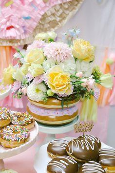 Donut floral arrangement from a Pastel Donut Birthday Party on Kara's Party Ideas | KarasPartyIdeas.com (24)