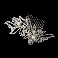 Diamond White Pearl and Rhinestone Floral Wedding Comb - a delightful hair accessory for the bride! Affordable Elegance Bridal -
