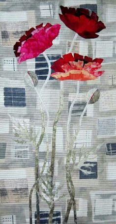 Urban Poppies Art Quilt by Barbara Lardon Bakgrund som qasugo +applikation Quilt Art, Quilt Modernen, Flower Quilts, Art Textile, Landscape Quilts, Contemporary Quilts, Quilted Wall Hangings, Applique Quilts, Fabric Art