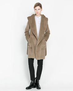 Image 1 of BELTED COAT WITH HOOD from Zara