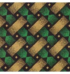 Shweshwe Three Cats vert motif sablier couleur jaune