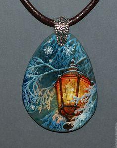 Купить Фонари... - комбинированный, лаковая миниатюра, лаконичное украшение, кулон, роспись по камню, живопись маслом