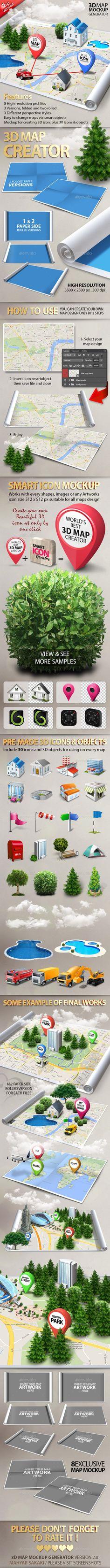 3d Map Generator Mockup #design Download: http://graphicriver.net/item/3d-map-generator-mockup-v20/12120511?ref=ksioks