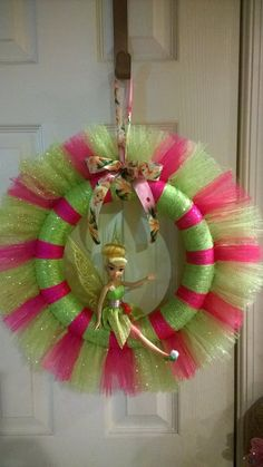 12 Tinkerbell Tulle Wreath by RomanzasWreaths on Etsy