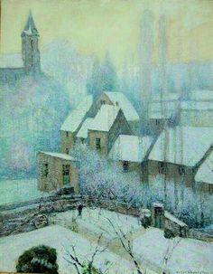 Victor Charreton (French, 1864—1936) Les Toits de Murol sous la Neige, Matin de Givre