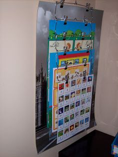 Chart and poster storage using a skirt hanger! http://360littlebits.blogspot.com/2012/08/easy-chart-storage.html