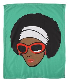 """Funky Diva with Afro Fleece Blanket. Wrap up in your favorite Chocolate Ancestor blanket when its a little chilly in your home. The soft fleece is 100% polyester and easy to care for. It adds a little texture to your living space. Details: Sizes 50x60"""", 60x80"""" Material or Use 100% Polyester Care of Machine wash separately in cold water. When drying, use delicate cycle and tumble dry on low. Do not bleach. Do not iron, press with heat or dry clean. Packaging Grey poly bag Production..."""