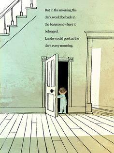 'The Dark' Jon Klassen + Lemony Snicket Jon Klassen, Carson Ellis, Children's Book Illustration, Character Illustration, Book Illustrations, Great Fear, Cartoon Background, Black And White Painting, Arte Horror