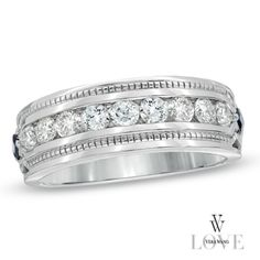 57a75c2a50cd4 Vera Wang LOVE Collection Men s 1 CT. T.W. Diamond Wedding Band in 14K  White Gold