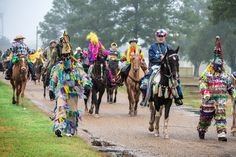 Forget Beads: Cajun Mardi Gras Means A Grand, Drunken Chicken Chase Costumed participants in the Courir de Mardi Gras in Eunice, La., in February 2013. The courir is a procession on foot, horseback and by trailer, rooted in a rural custom of gathering ingredients for a communal meal from area farms.