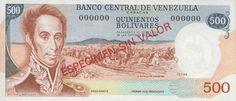 Pieza bbcv500bs-das (Anverso). Billete del Banco Central de Venezuela. 500 Bolívares. Diseño D, Tipo A. Billete tipo specimen sin fecha