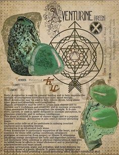 Green Aventurine, Book of Shadows printable page. Green Witchcraft, Wiccan Spells, Crystal Healing Stones, Crystal Magic, Crystals And Gemstones, Stones And Crystals, Cristal Art, Practical Magic, Green Aventurine