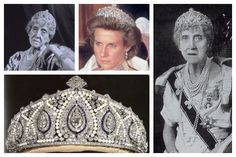 The Cartier Indian Tiara | A Tiara a Day-First owned by Princess Marie-Louise, a granddaughter of Queen Victoria, the tiara was inherited by her godson Prince Richard and is now worn by Richard's wife Birgitte.  Photos (clockwise from top left): Princess Marie Louise of Schleswig-Holstein; the Duchess of Gloucester; Princess Marie Louise of Schleswig-Holstein; tiara detail.