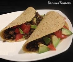 Avocado & Lentil Vegan Tacos | Super Satiating | Feels Meaty but Packed with Protein & Fiber | You'll never miss the meat and your waistline will thank you! | For Nutrition & Fitness Tips & Recipes, Please SIGN UP for our FREE Newsletter www.NutritionTwins.com