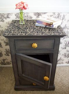 Grey stained nightstand. I like. Without   the yellow knobs!!!