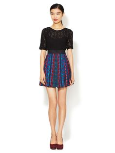 Anna Sui Paisley Stripe Twill Mini Skirt