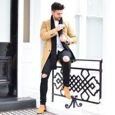 Wearing camel  alongside. Men's outfit