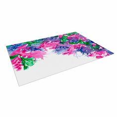 """Ebi Emporium """"Floral Cascade 1"""" Pink Green Indoor / Outdoor Floor Mat"""