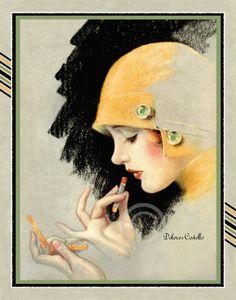 Beautiful Art Deco Flapper Putting on by DragonflyMeadowsArt, $18.00