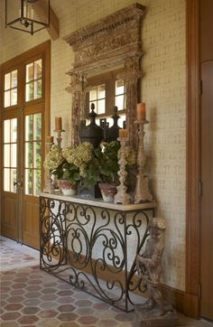 Rustic Italian Home Italian Home Decor, Rustic Italian, Mediterranean Home Decor, Tuscan Design, Tuscan Style, Tuscan Decorating, French Country Decorating, Iron Console Table, Iron Table